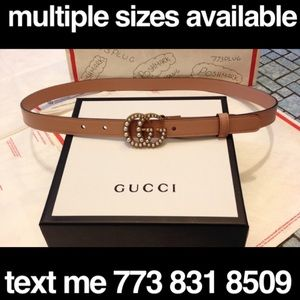 New Gucci pink leather small pearl logo belt